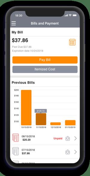 AwareX platform bills and payment shown on a phone screen