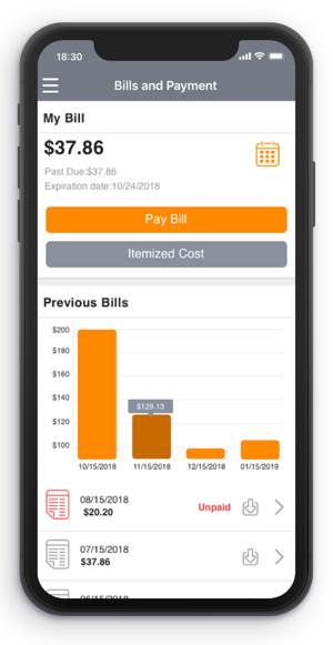 AwareX platform bills and payment shown on a phone screen