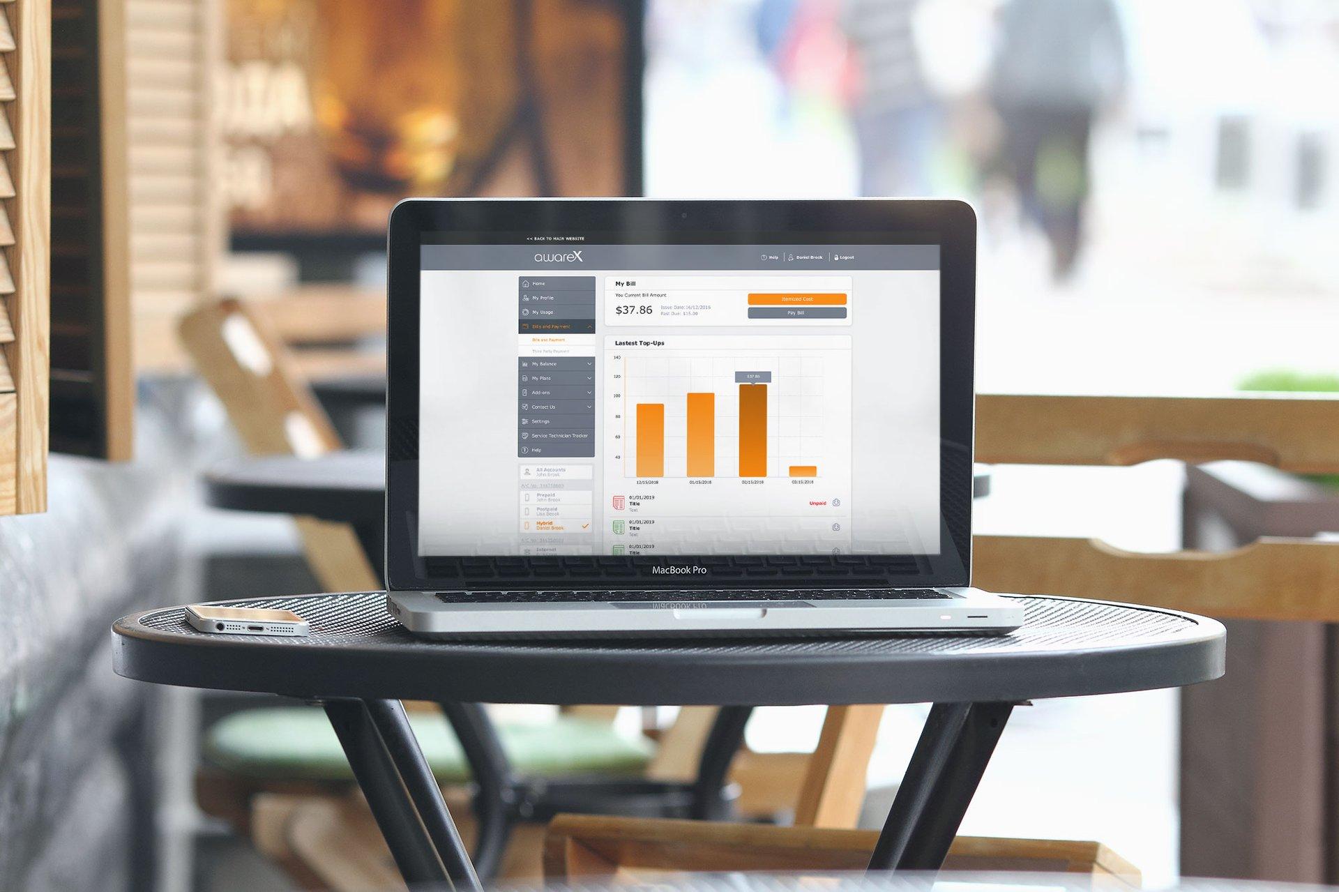 AwareX platform displayed on a laptop